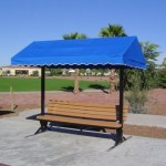 Cabana Bench 10, Surface mount, with Backrest and Pacific Blue Canvas