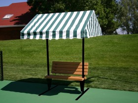 Cabana Bench 6 with backrest, Green & White Stripe Canvas